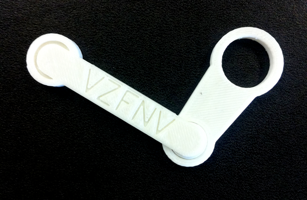Prototype: A 3d printed Steam logo with code on