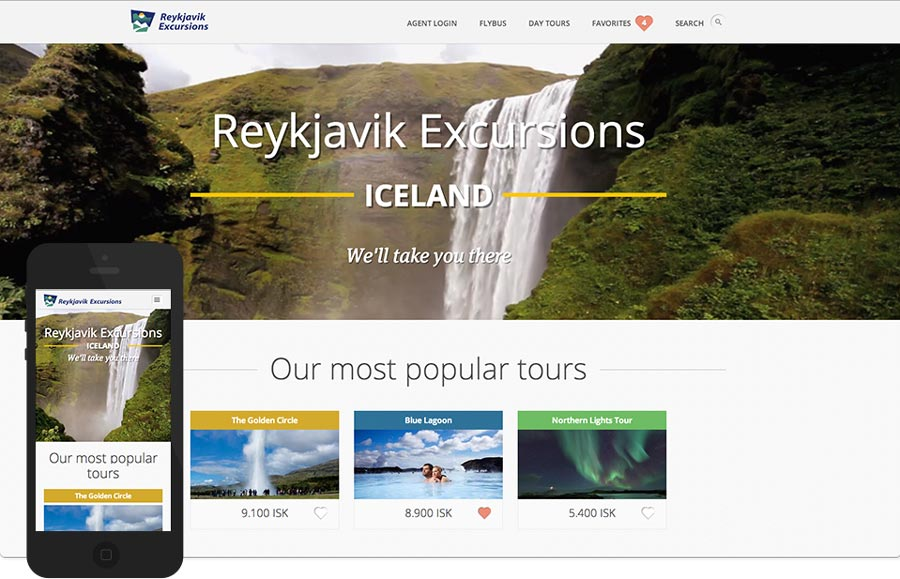 A screenshot of Reykjavík Excursions's website at time of launch late 2013