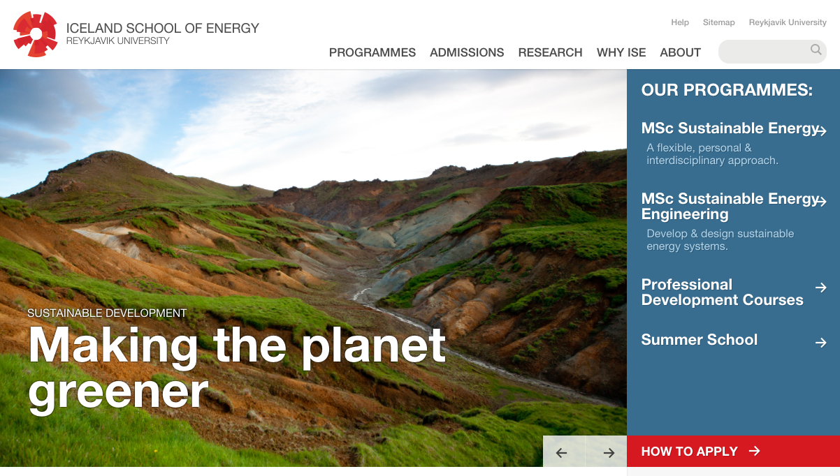 A screentshot of Icelance School of Energy's front page